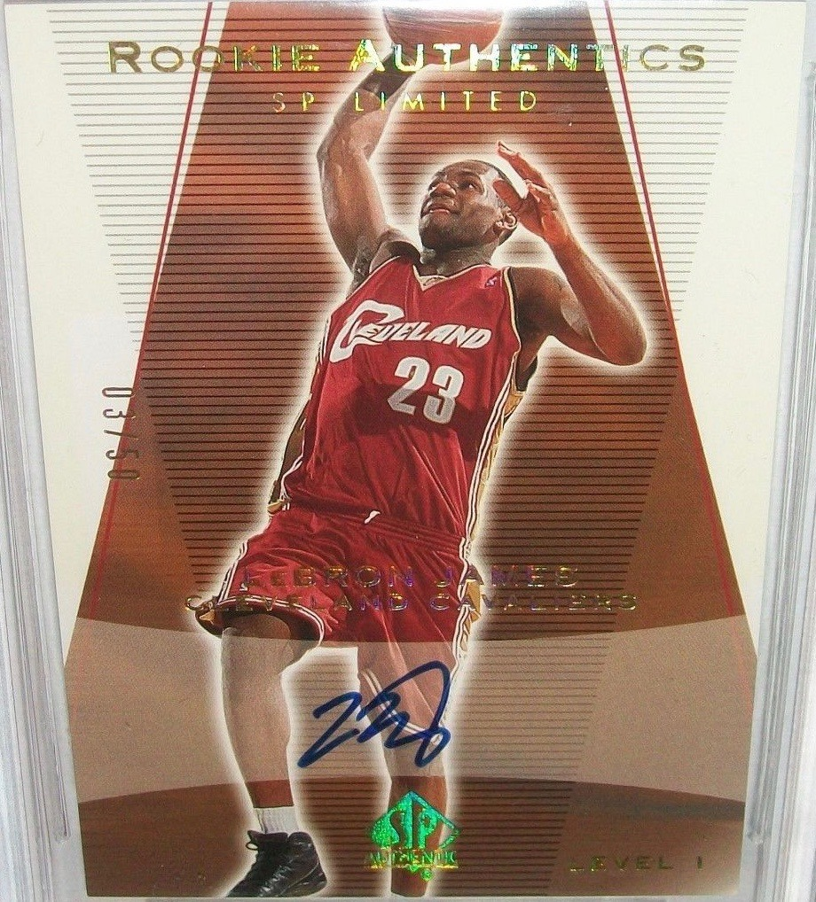 2003 SP Authentic #148 Autograph Gold Lebron James Basketball Card