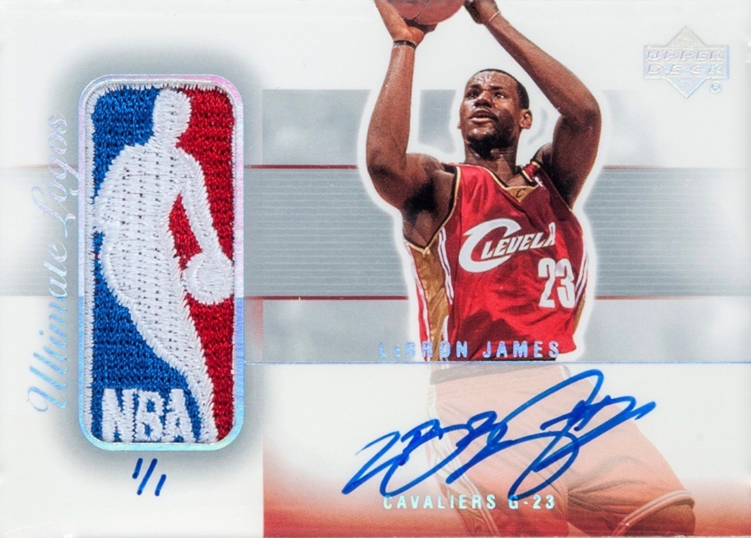 2003 Ultimate Collection Ultimate Logos Signature 1:1 Lebron James Basketball Card