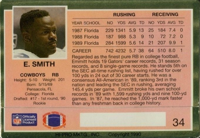 1990 Action Packed #34 Emmitt Smith Rookie Card Reverse Side With Statistics and Biography
