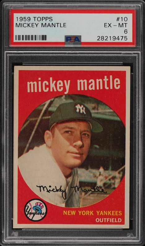 1959 Topps #10 Mickey Mantle Baseball Card Graded PSA 6 Excellent-Mint Condition