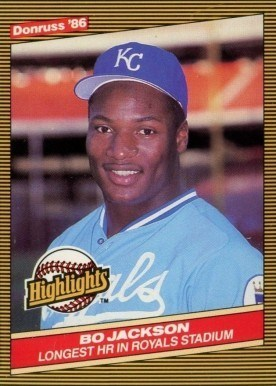 1986 Donruss Highlights #43 Bo Jackson Baseball Card Highlights in Yellow
