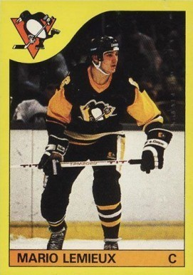 1985 O-Pee-Chee Box Bottoms #1 Mario Lemieux Hockey Card
