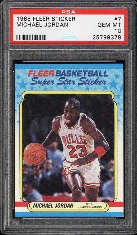 1988 Fleer Sticker Michael Jordan #7 Graded PSA 10 GEM MINT