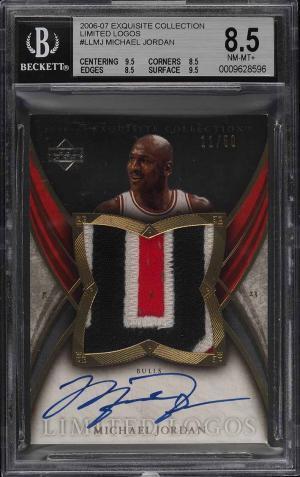 2006 Exquisite Collection Limit Logos Michael Jordan Card AUTO PATCH :50 BGS 8.5