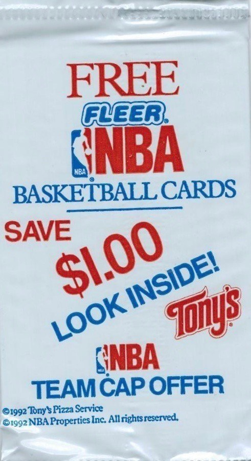 Pack of 1992 Tony's Pizza Fleer Basketball Cards