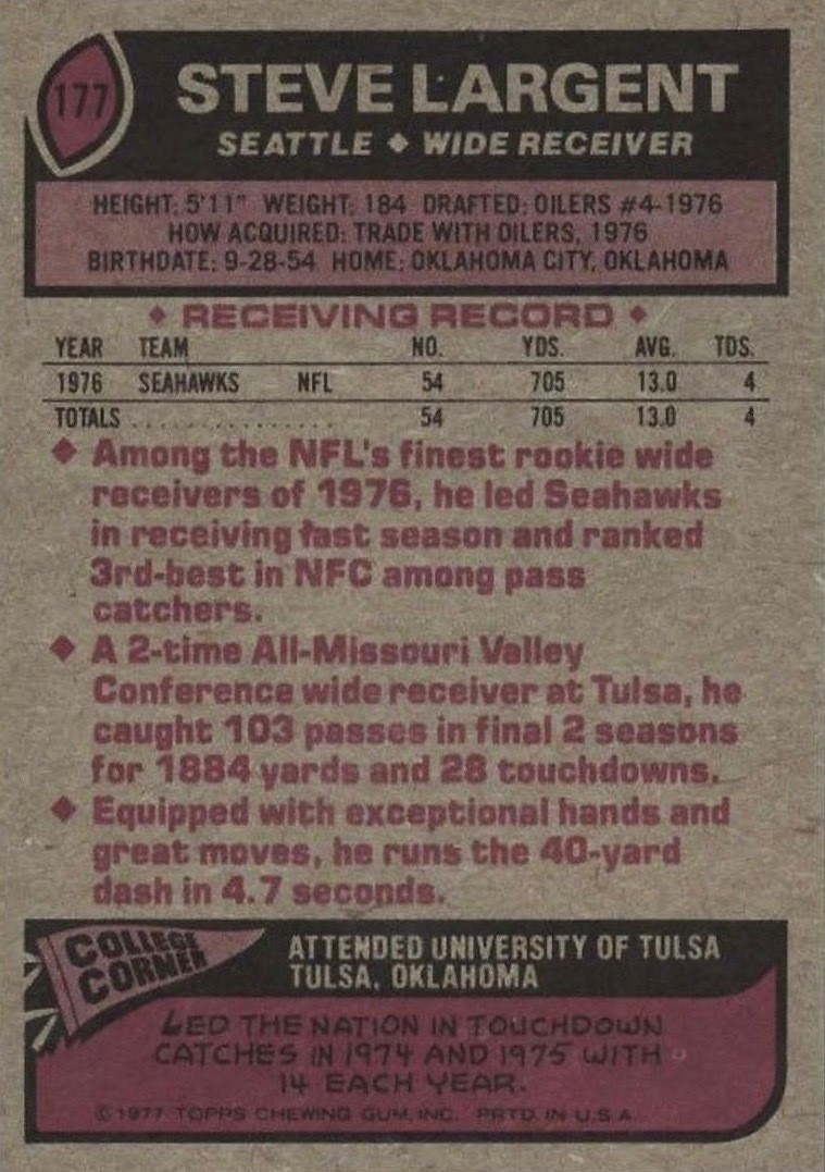 1977 Topps #177 Steve Largent Football Card Reverse Side With Statistics and Personal Information