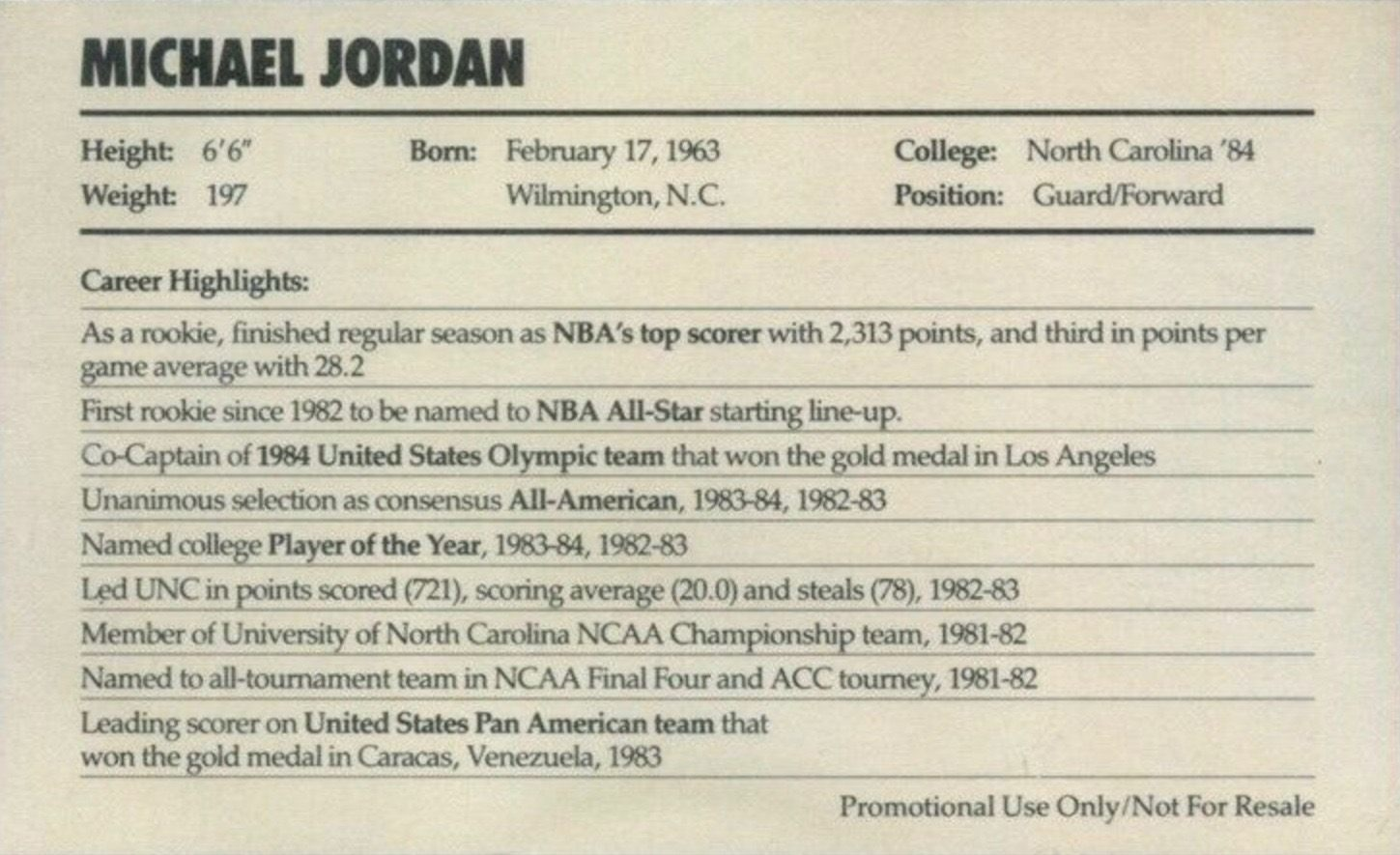 1985 Nike #2 Michael Jordan Basketball Card Reverse Side With Personal Information and Career Highlights