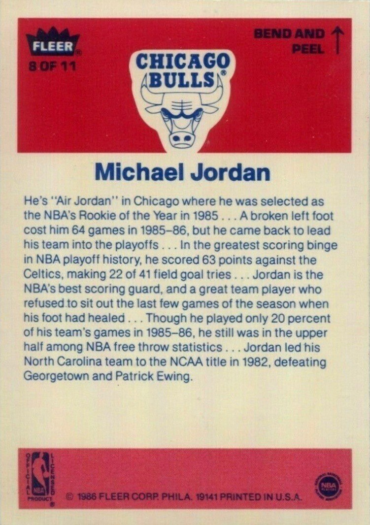 1986 Fleer Stickers #8 Michael Jordan Card Reverse Side With Personal Information and Career Highlights