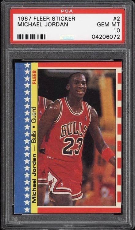 1987 Fleer Sticker #2 Michael Jordan Basketball Card