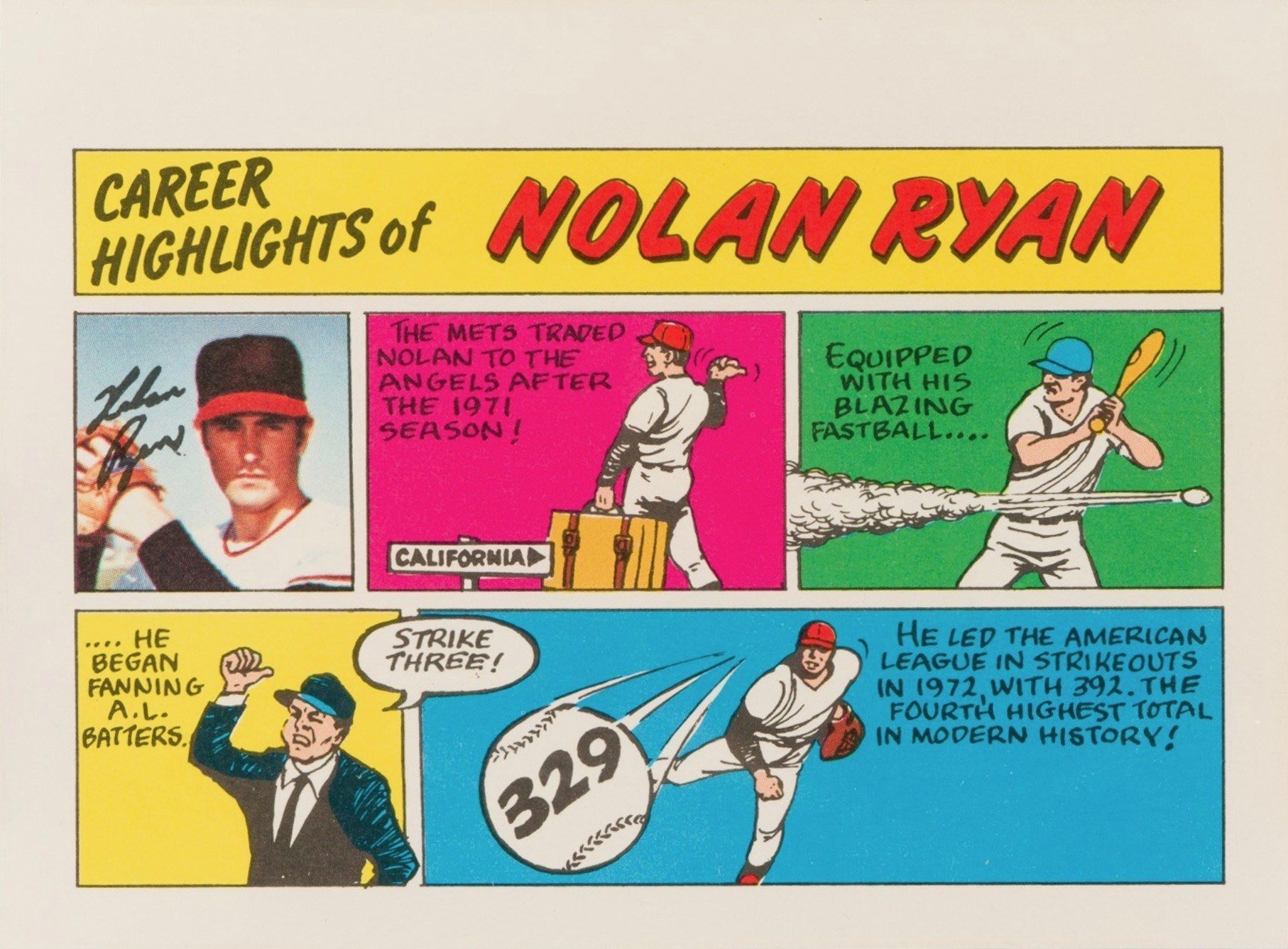 1973 Topps Comics Nolan Ryan Baseball Card