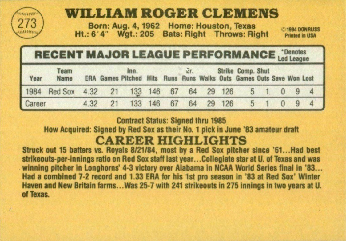1985 Donruss #273 Roger Clemens Baseball Card Reverse Side With Statistics and Biography