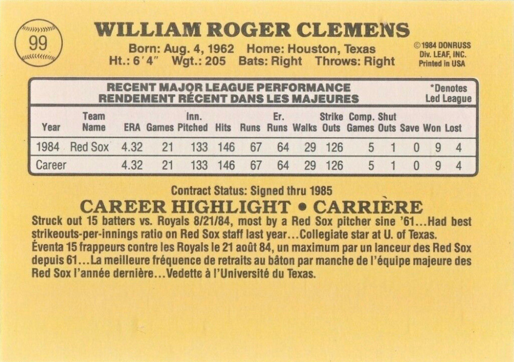1985 Leaf #99 Roger Clemens Baseball Card Reverse Side With Statistics and Biography