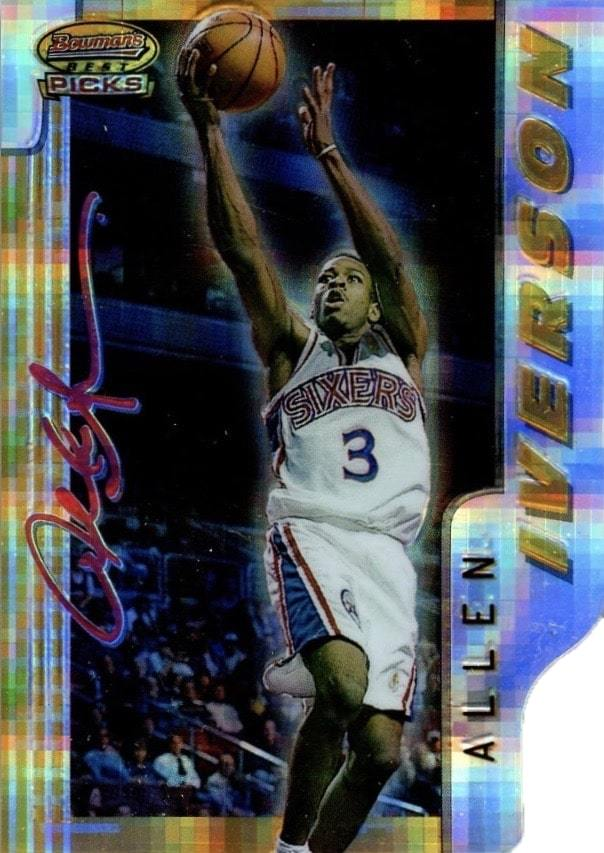 1996 Bowman's Best Picks Atomic Refractor #9 Allen Iverson Basketball Card