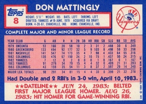 1984 Topps Tiffany #8 Don Mattingly Baseball Card Reverse Side With Statistics and Biography