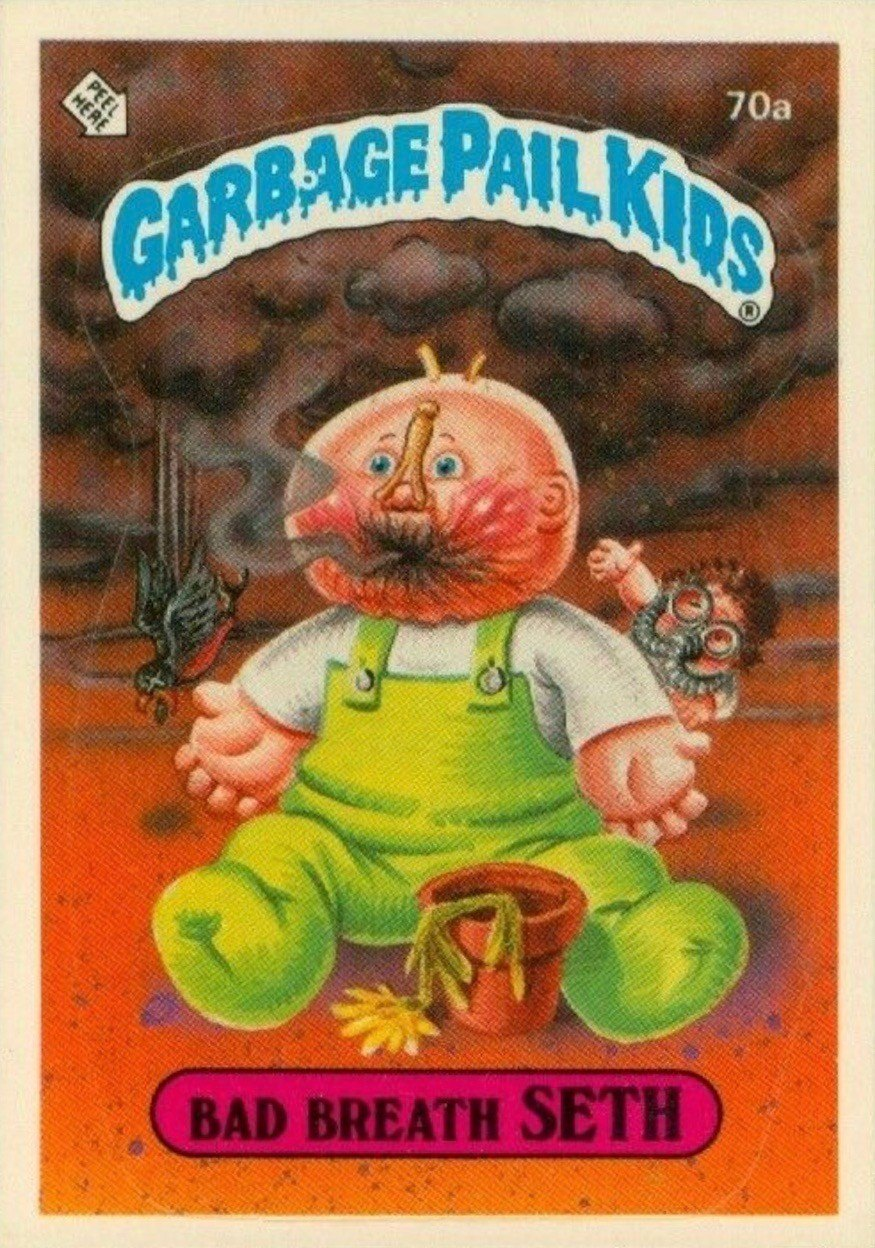 1985 Garbage Pail Kids Card #70a Bad Breath Seth