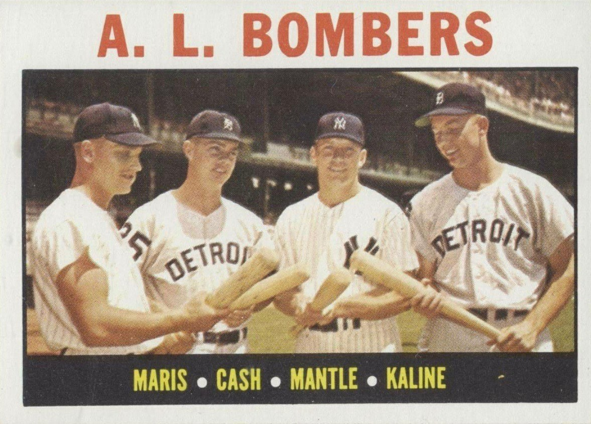 1964 Topps #331 A.L. Bombers Mantle Kaline Cash Maris Baseball Card