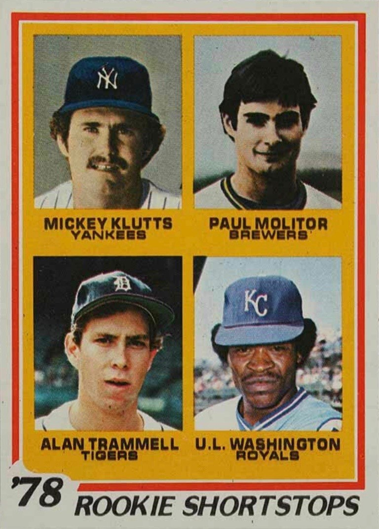 1978 Topps #707 Paul Molitor and Alan Trammell Rookie Card