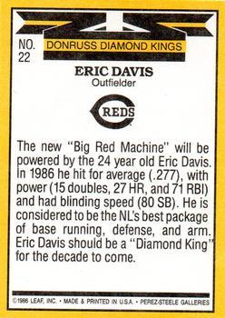 1987 Donruss #22 Eric Davis Diamond King Reverse Side With Yellow Stripe Correct Baseball Card