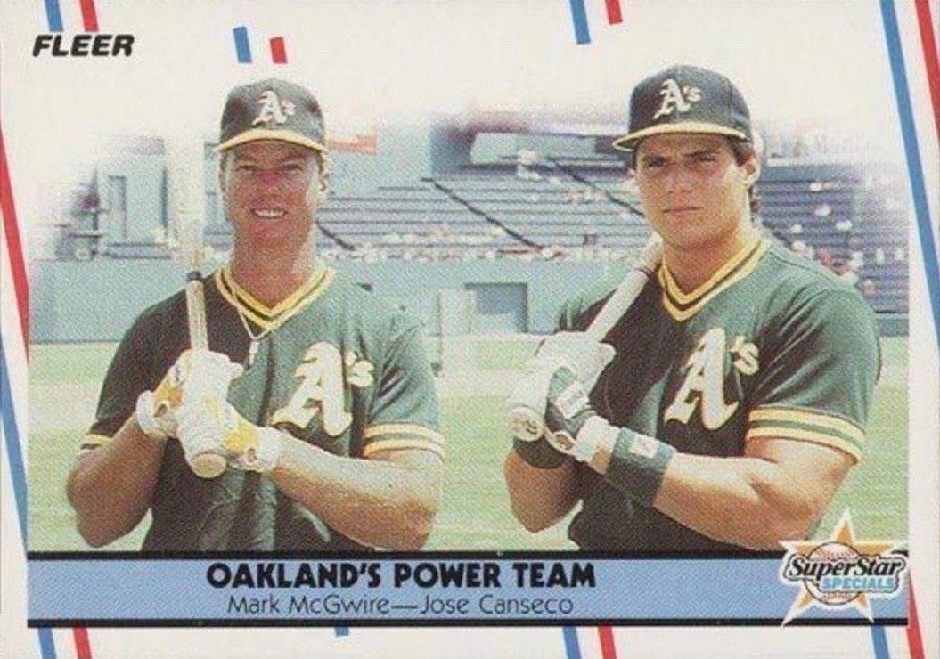 1988 Fleer #624 Oakland A's Power Team Jose Canseco and Mark McGwire Baseball Card
