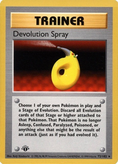 1999 Pokemon First Edition Devolution Spray Card #72