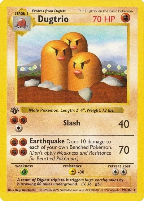 1999 Pokemon First Edition Dugtrio Card #19