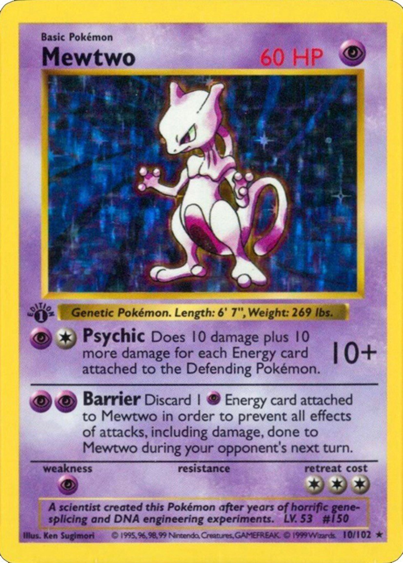 1999 Pokemon First Edition Mewtwo Card #10
