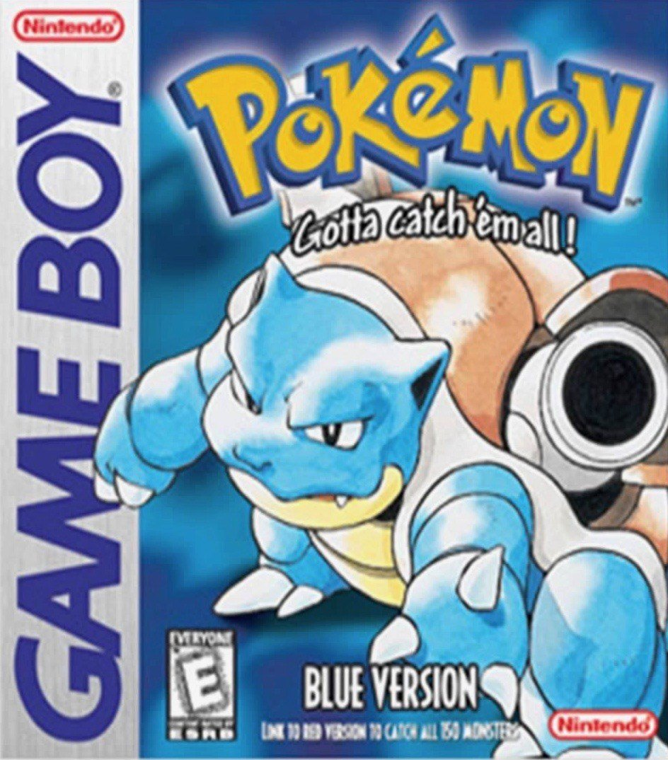 Pokémon Blue Game Boy Game Box Art Featuring Blastoise