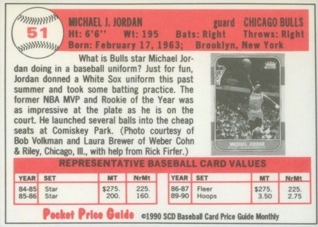1990 SCD Pocket Price Guide #51 Michael Jordan Card Reverse Side With Stats and Biography