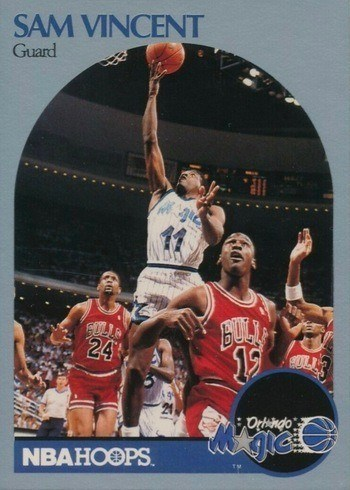 1990 NBA Hoops #223 Sam Vincent Card With Michael Jordan On It