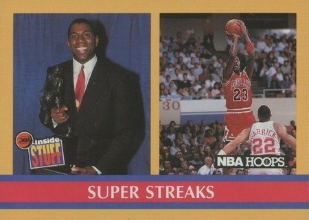1990 NBA Hoops #385 Magic Johnson and Michael Jordan Super Streaks Card