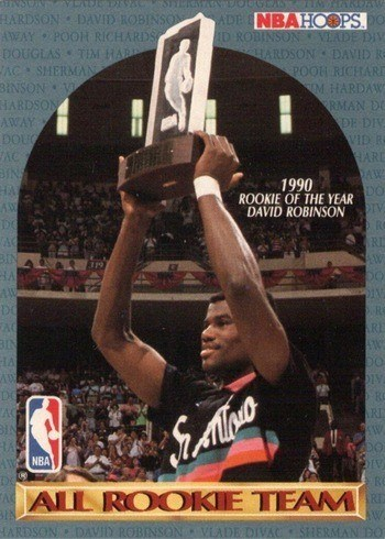 1990 NBA Hoops All Rookie Team Basketball Card With David Robinson
