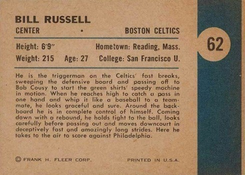 1961 Fleer #62 Bill Russell In Action Card Reverse Side With Write-Up