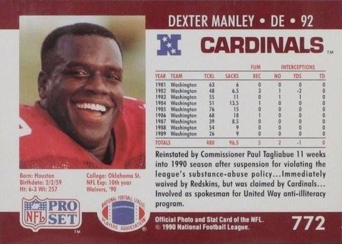 1990 Pro Set #772 Dexter Manley Substance Drug Abuse Card Reverse Side