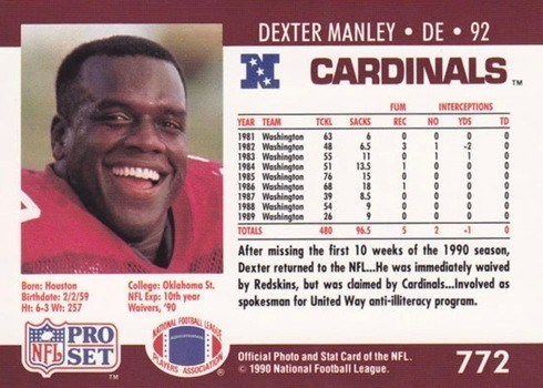 1990 Pro Set #772 Dexter Manley Without Mention of Drug Abuse Card Reverse Side