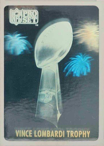 1990 Pro Set Lombardi Trophy Hologram Football Card