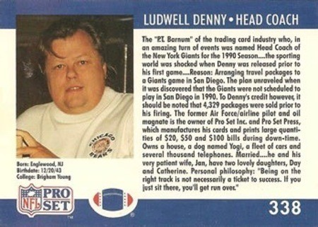 1990 Pro Set Ludwell Denny Football Card Reverse Side