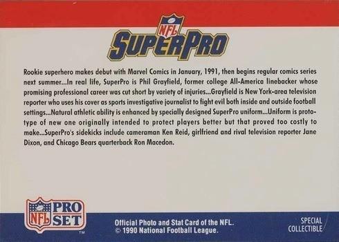1990 Pro Set SuperPro Card Reverse Side