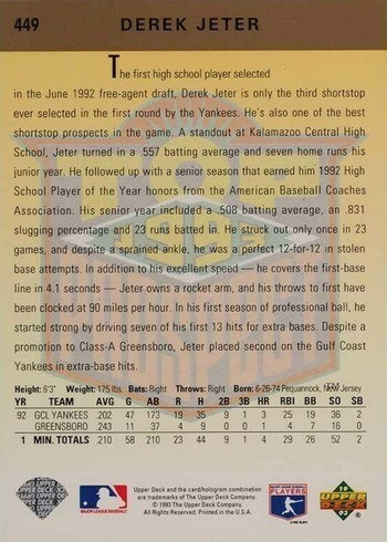 1993 Upper Deck #449 Derek Jeter Rookie Card Reverse Side With Stats and Personal Information