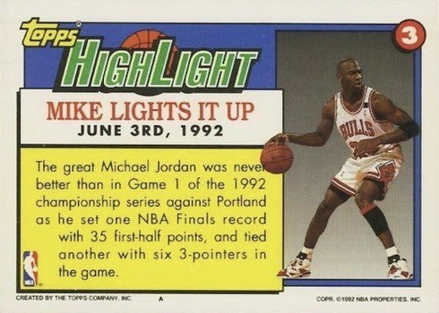 1992 Topps #3 Michael Jordan Highlights Basketball Card Reverse Side Documenting Success Against Portland in the NBA Finals