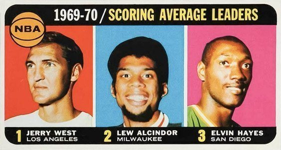 1970 Topps #2 NBA Scoring Average Leaders Jerry West and Lew Alcindor Basketball Card