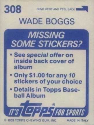 1983 Topps Stickers #308 Wade Boggs Baseball Card Reverse Side With Biography