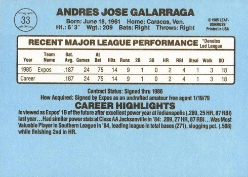 1986 Donruss #33 Andres Galaragga Rookie Card No Accent Mark Reverse With Stats and Biography