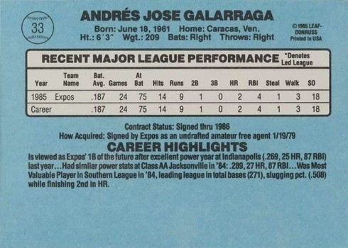 1986 Donruss #33 Andres Galaragga Rookie Card With Accent Mark Reverse With Stats and Biography