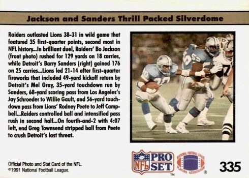 1991 NFL Pro Set #335 Bo and Barry Show Reverse With Logo Football Card
