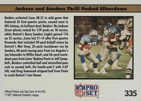 1991 NFL Pro Set #335 Bo and Barry Show Reverse Without Logo Football Card