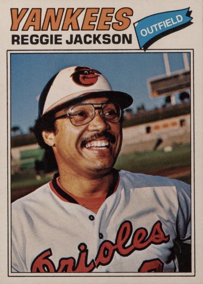 1977 Topps #10 Reggie Jackson Baseball Card Error Orioles Uniform