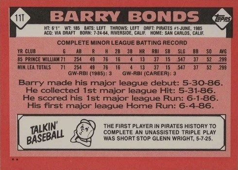 1986 Topps Traded #11T Barry Bonds Rookie Card Reverse Side With Stats and Biography