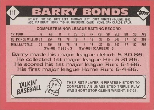 1986 Topps Traded Tiffany #11T Barry Bonds Rookie Card Reverse Side With Stats and Biography