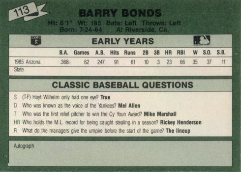 1987 Classic Travel 113 Barry Bonds Card Reverse Side in Green