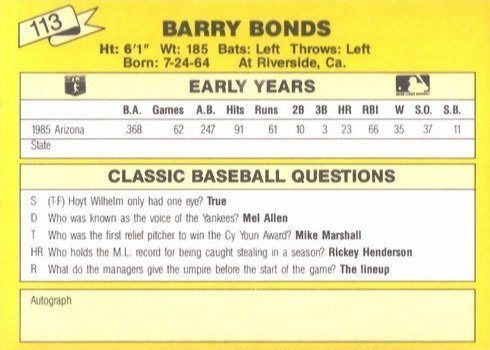 1987 Classic Travel #113 Barry Bonds Card Reverse Side in Yellow